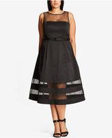 City Chic Trendy Plus Size Illusion Midi Dress