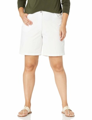 Hearts of Palm Plus Essentials Solid Twill Shorts 20W White