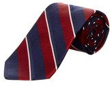 Brooks Brothers Navy Mixed Weave Stripe Silk Tie.