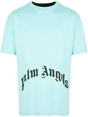 Palm Angels two tone thinking skull t-shirt green