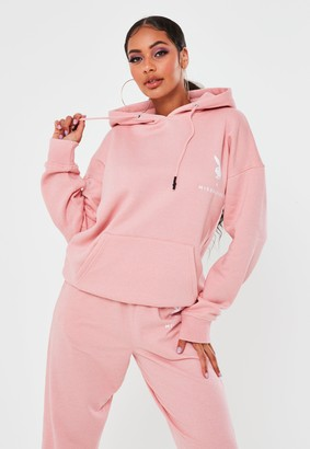 Missguided Playboy X Pink Oversized Hoodie