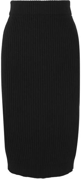 Marc Jacobs Ribbed Wool And Cashmere-blend Midi Skirt - Black