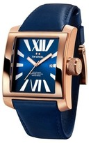 TW Steel Goliath CE3017 Sandblasted PVD Rose Gold / Blue Leather 37mm Mens Watch