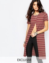 Noisy May Open Front Stripe Tunic