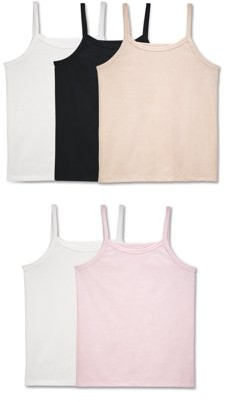 Fruit of the Loom Girls' Assorted Wear Me Two Ways Cami, 5 Pack Sizes S-XL