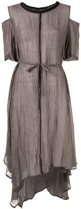 Taylor Intermittent sheer asymmetric dress