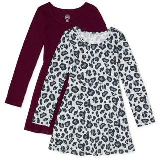Wonder Nation Girls Long Sleeve Play Dress, 2-Pack, Sizes 4-18 & Plus