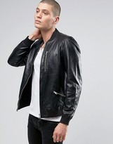 AllSaints Leather Bomber Jacket