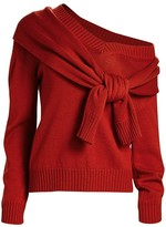 Monse Tied Cold-Shoulder Knit Wool Sweater