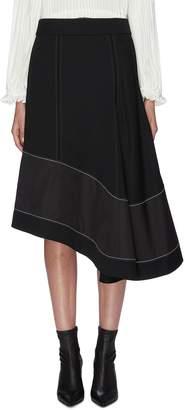 3.1 Phillip Lim Asymmetric panelled flared wool skirt