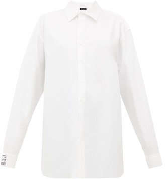 Raf Simons Oversized Embroidered Cotton-oxford Shirt - Womens - White