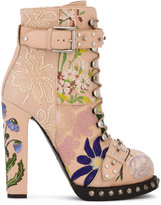 Alexander McQueen High Heeled Leather Floral Embroidered Bootie