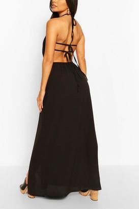 boohoo Woven Strappy Back Halterneck Split Maxi Dress