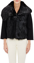 Alberta Ferretti WOMEN'S FUR VEST & MELTON CROP JACKET SIZE 40 IT