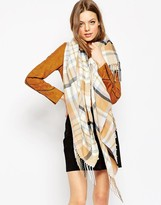 Asos Oversized Scarf In Pastel And Camel Check With Side Fringe