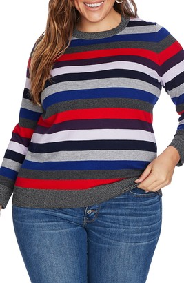 Court & Rowe Metallic Detail Stripe Cotton & Wool Blend Turtleneck Sweater