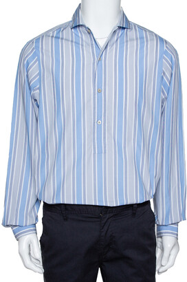 Gucci Blue Striped Cotton Oversized Half Placket Shirt S