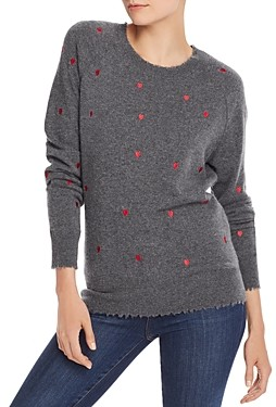 Aqua Cashmere Embroidered Heart Cashmere Sweater - 100% Exclusive