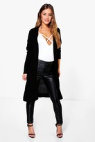 boohoo Petite Becca Midi Length Cardigan With Pockets black