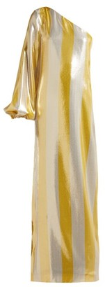 By. Bonnie Young - Asymmetric Striped Lame Gown - Womens - Metallic
