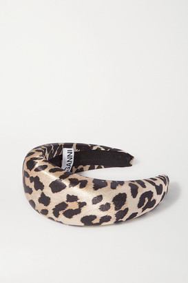 Ganni Leopard-print Satin Headband - Leopard print