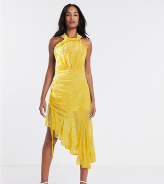 Dark Pink halter neck ruched midi dress in golden yellow