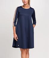Dark Blue Stripe-Sleeve Shift Dress
