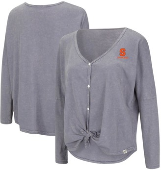 Colosseum Women's Gray Syracuse Orange Charity Button-Up Tie-Front Long Sleeve Top