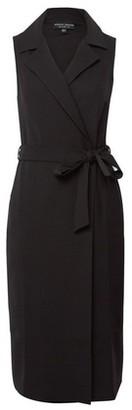 Dorothy Perkins Womens Black Sleeveless Tuxedo Wrap Dress, Black