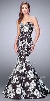 La Femme Bold Floral Print Strapless Mermaid Prom Dress
