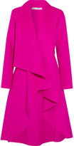 Oscar de la Renta Draped Brushed Wool And Cashmere-blend Coat - Bright pink