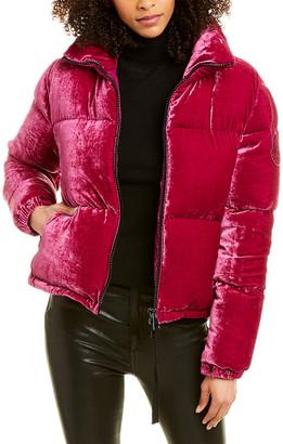 Moncler Velvet Silk-Blend Down Jacket