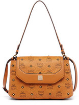 MCM Gold Visetos Small Satchel Bag, Cognac