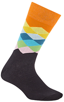 Happy Socks Faded Diamond Socks, One Size, Black/orange