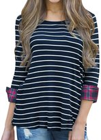uxcell® Women Plaids Cuffs Scoop Neck 3/4 Sleeves Striped Tunic Top S