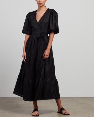 Faithfull The Brand Women's Black Midi Dresses - Edee Wrap Dress - Size 6 at The Iconic