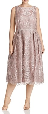 Adrianna Papell Plus Pleated Lace Midi Dress