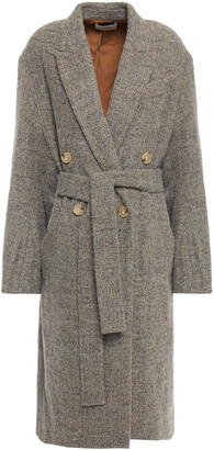 Vince Double-breasted Belted Marled Boucle Coat