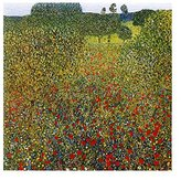 Gustav 1art1 Posters Klimt Poster Art Print - Campo Di Papaveri (12 x 12 inches)