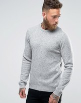 Asos Lambswool Rich Crew Neck Sweater in Light Gray
