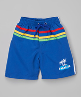 Sweet & Soft Blue Stripe Palm Trees Boardshorts - Kids