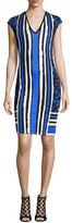 Roberto Cavalli Cap-Sleeve Mixed-Print Sheath Dress, Black/Blue/Navy