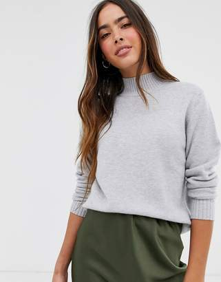 Vila knitted jumper with high neck in grey