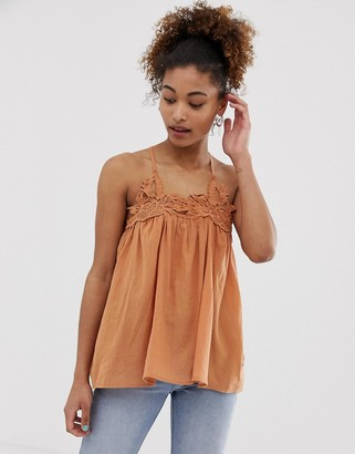 Pepe Jeans Pia cami with floral crochet lace trim-Orange