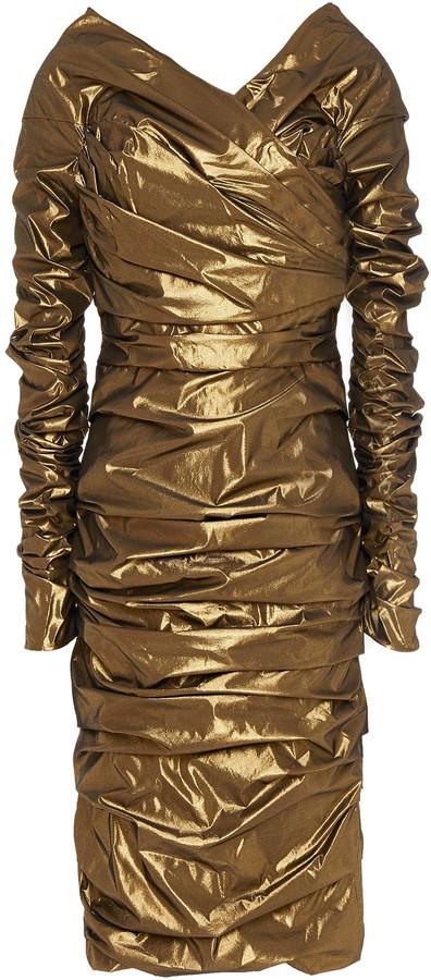 Dolce & Gabbana Off-the-shoulder Ruched Lame Dress