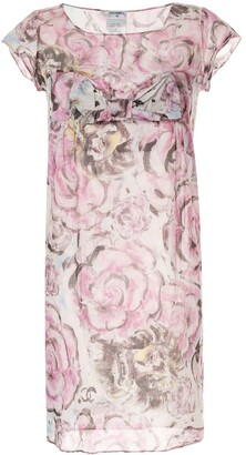 Chanel Pre Owned Bow Detail Roses Print Dress