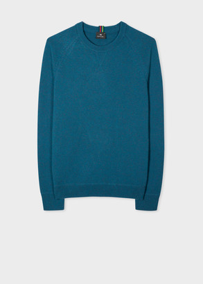 Men's Petrol Blue Merino Raglan Sleeve Sweater