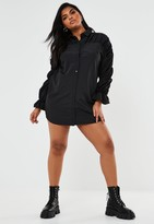 Missguided Plus Size Black Ruched Sleeve Shirt Dress