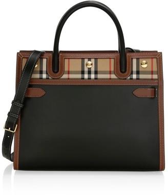 Burberry Medium Title Vintage Check Leather Satchel