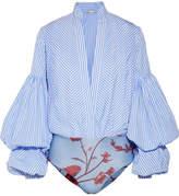 Johanna Ortiz Penny Striped Cotton-blend And Stretch-jersey Bodysuit